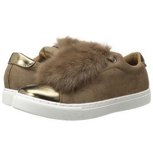 Camel Faux Fur Fun Platform Sneakers